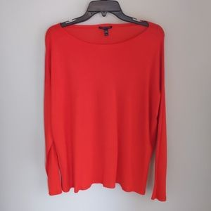 Eileen Fisher red featherweight merino sweater M